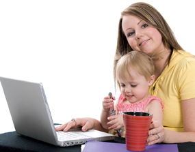 mom using computer