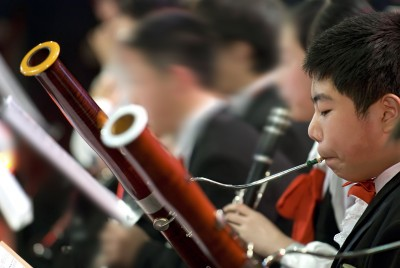 boy playing bassoon