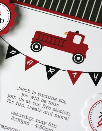 Firetruck Invitations