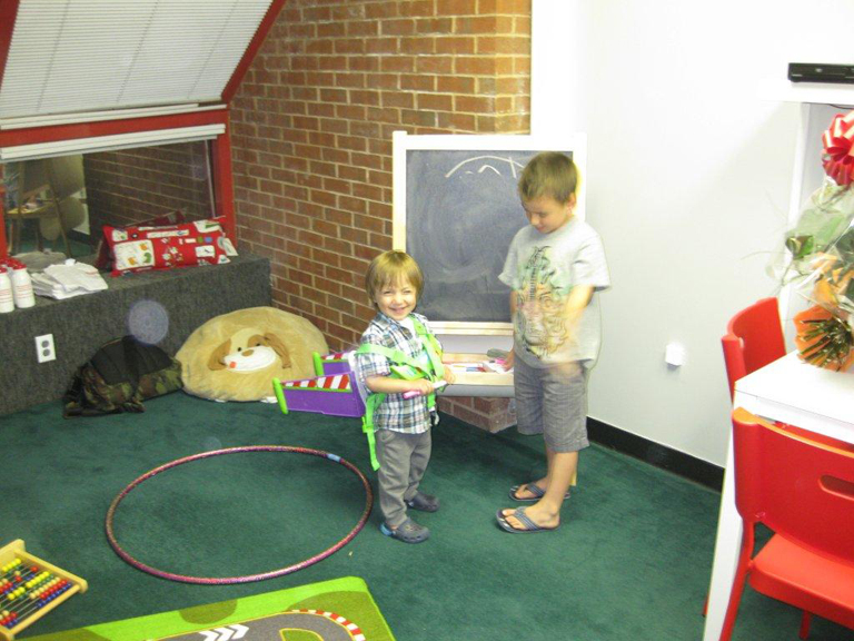 chiidren interacting on a one-on-one setting