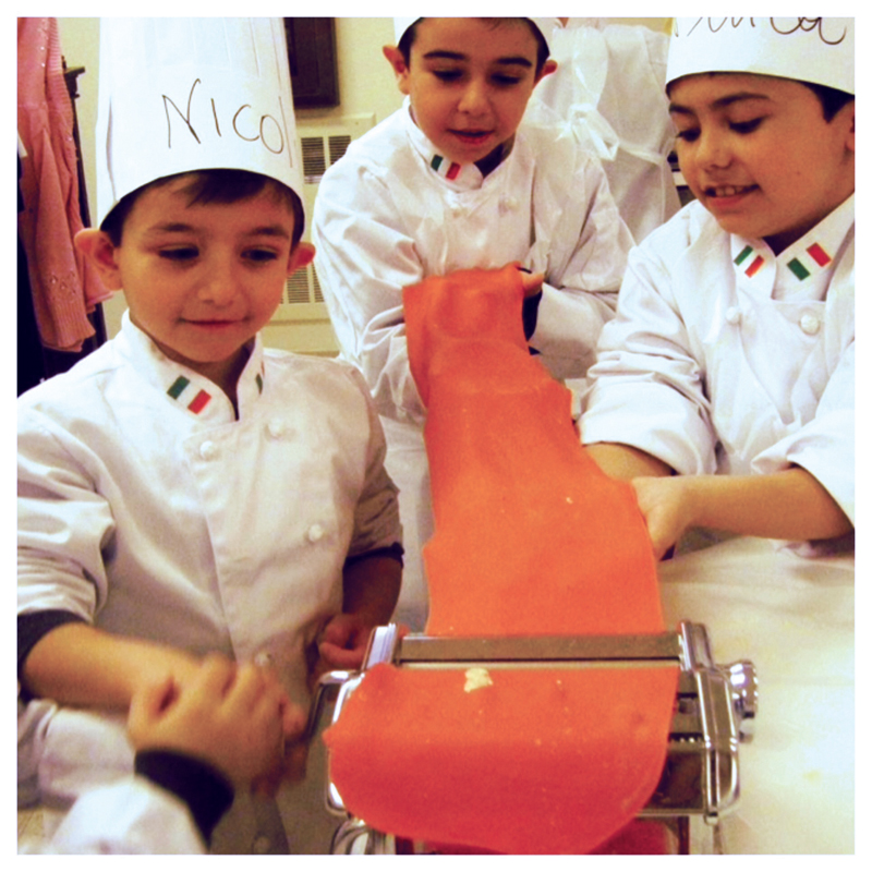 kids making pasta in cooking class