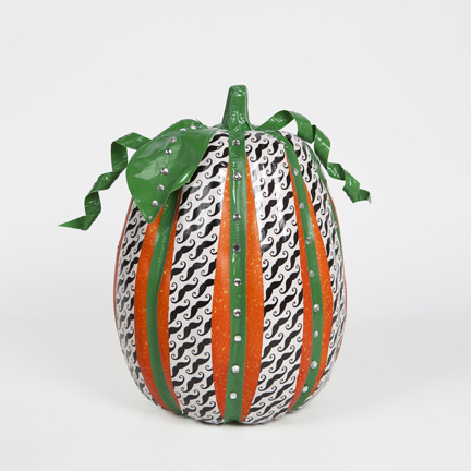 duck tape decorated mustache pumpkin