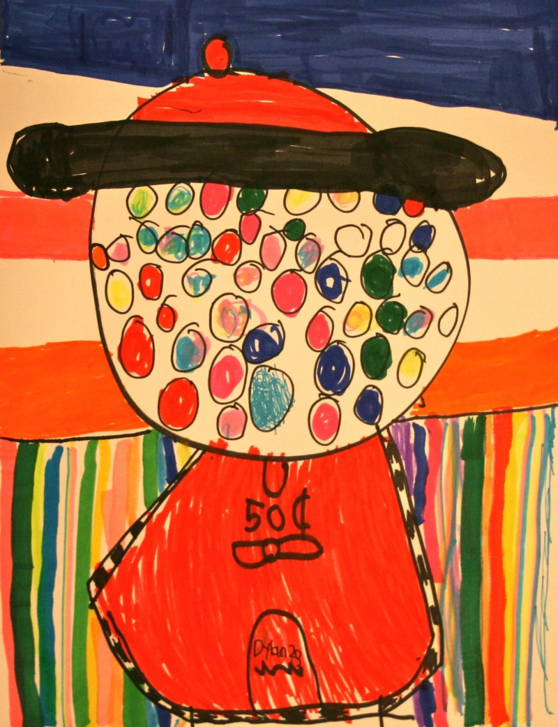 marker drawing of a gumball machine
