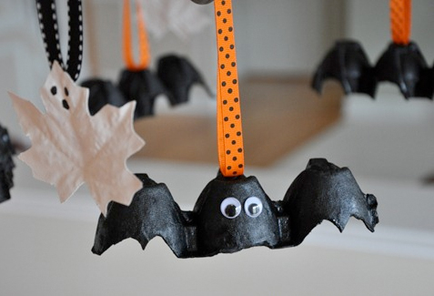 egg carton bat decoration