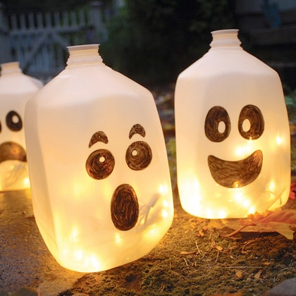 ghosts made from milk jugs