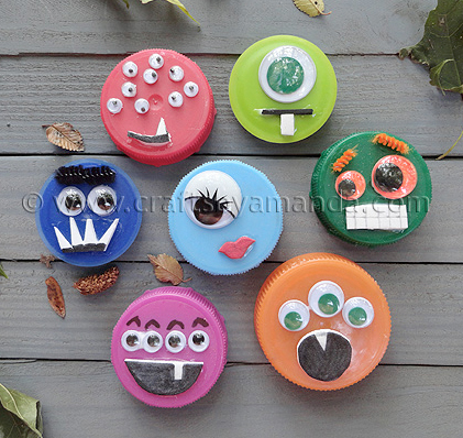 plastic lid monsters craft