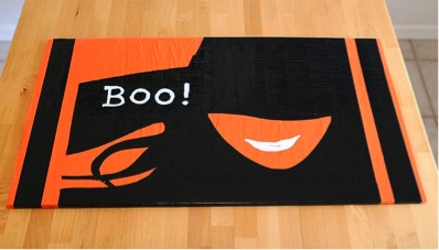 halloween doormat created with duct tape