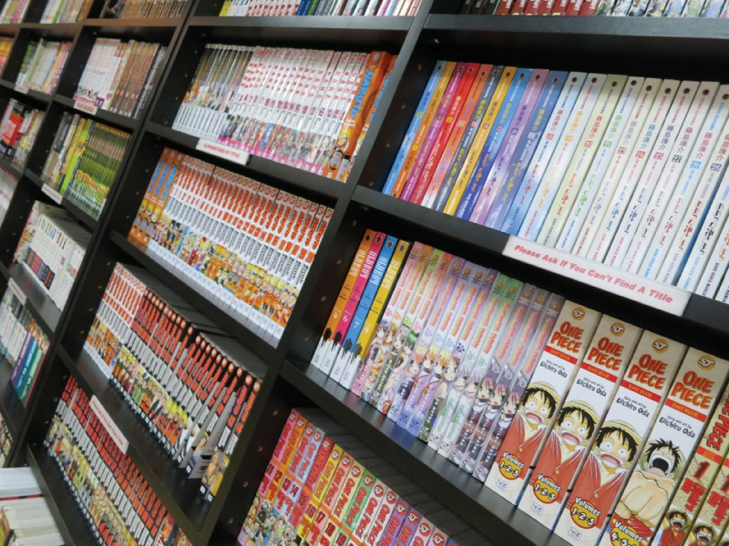manga on shelves