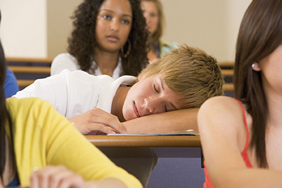 teen asleep in class