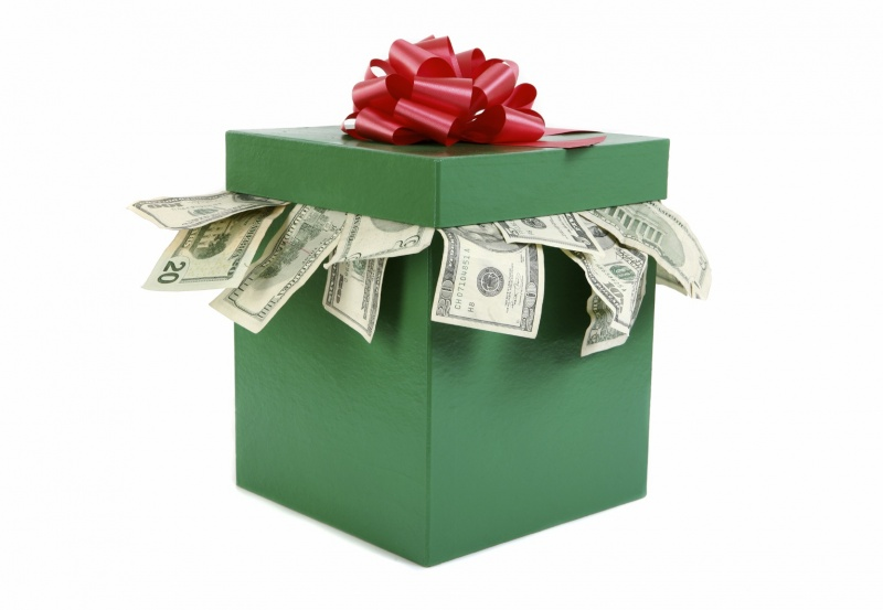 Holiday gift box with money inside