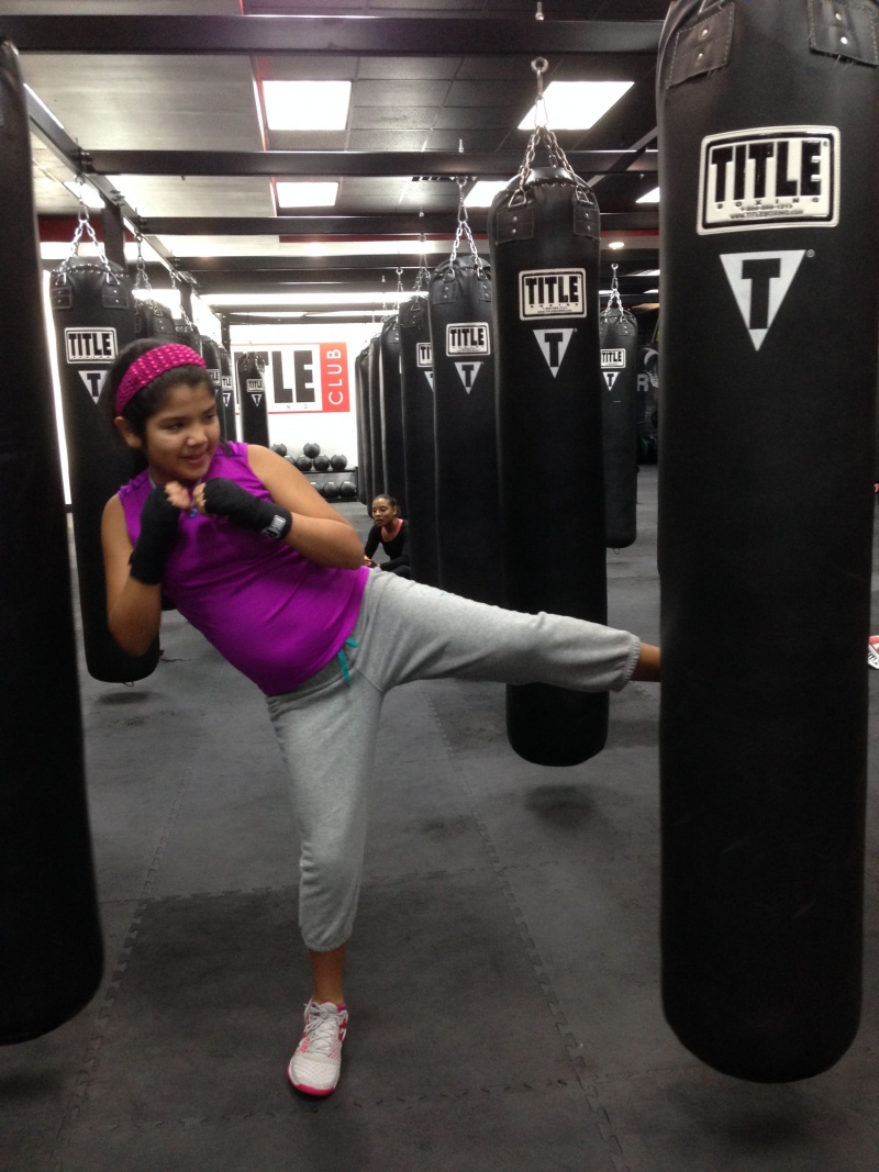 girl working on kickboxing skills