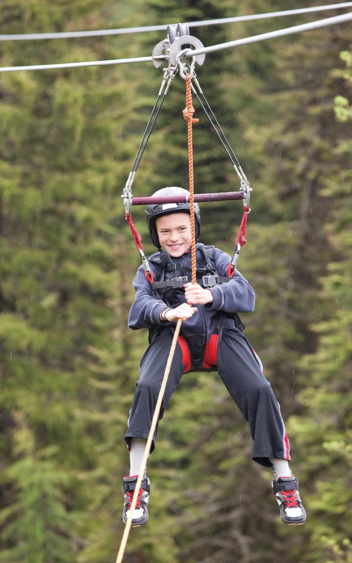 boy ziplining
