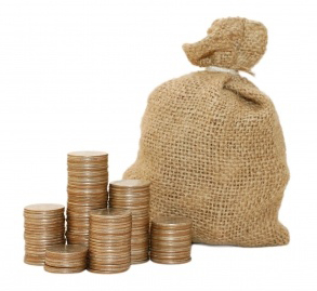 coin stacks and money bag