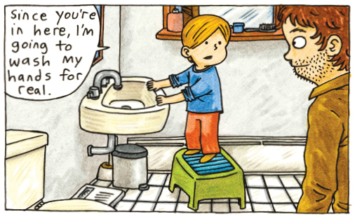 jeffrey brown comic about kids in bathroom