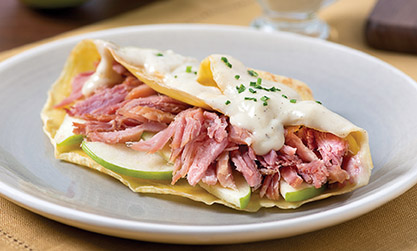 ham apple cheese crepes