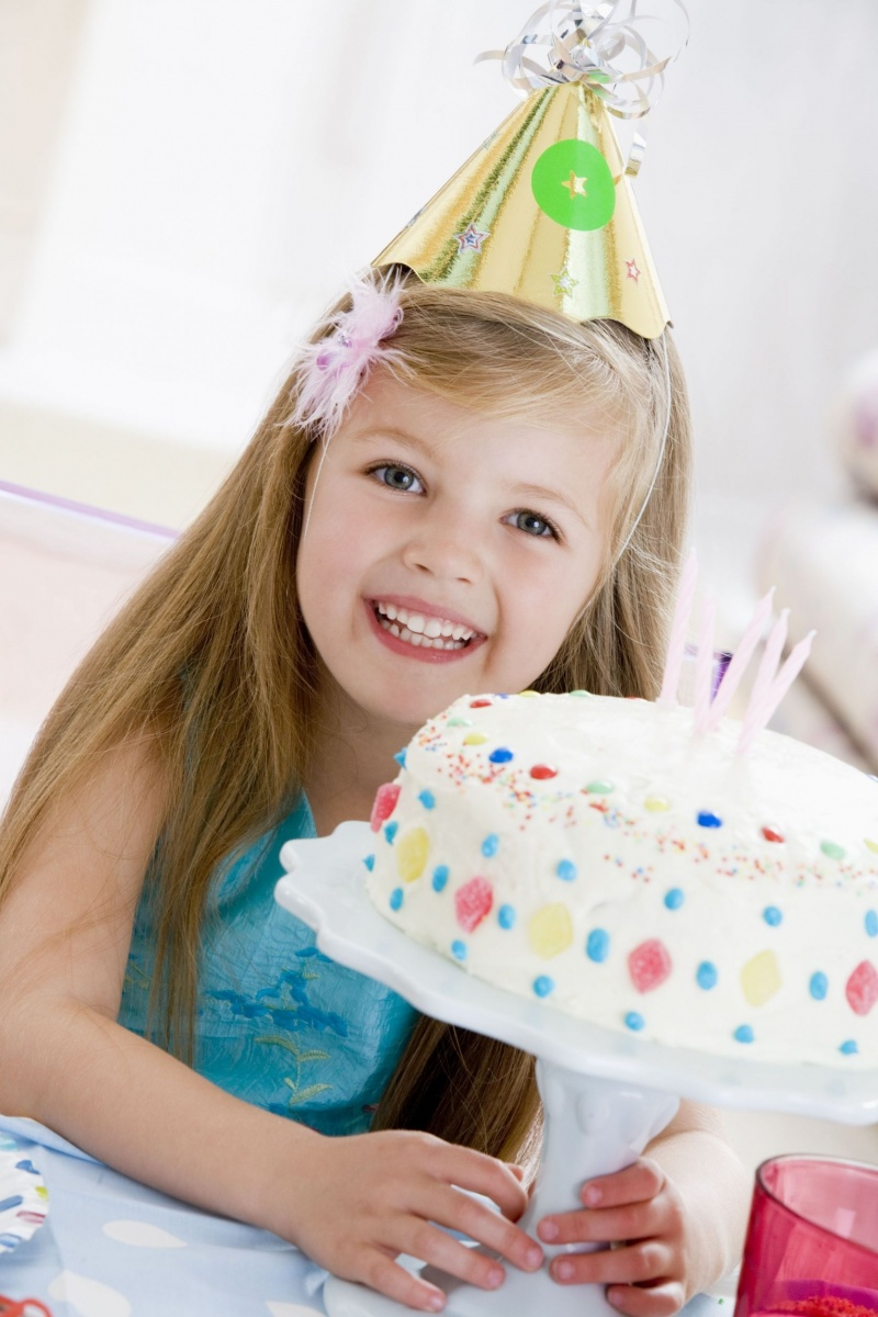 birthday girl with cake