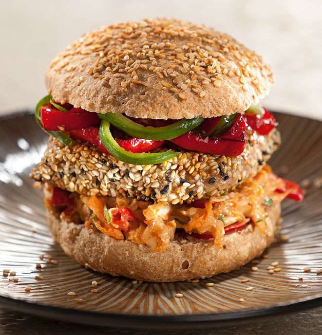 asian sesame tofu burger