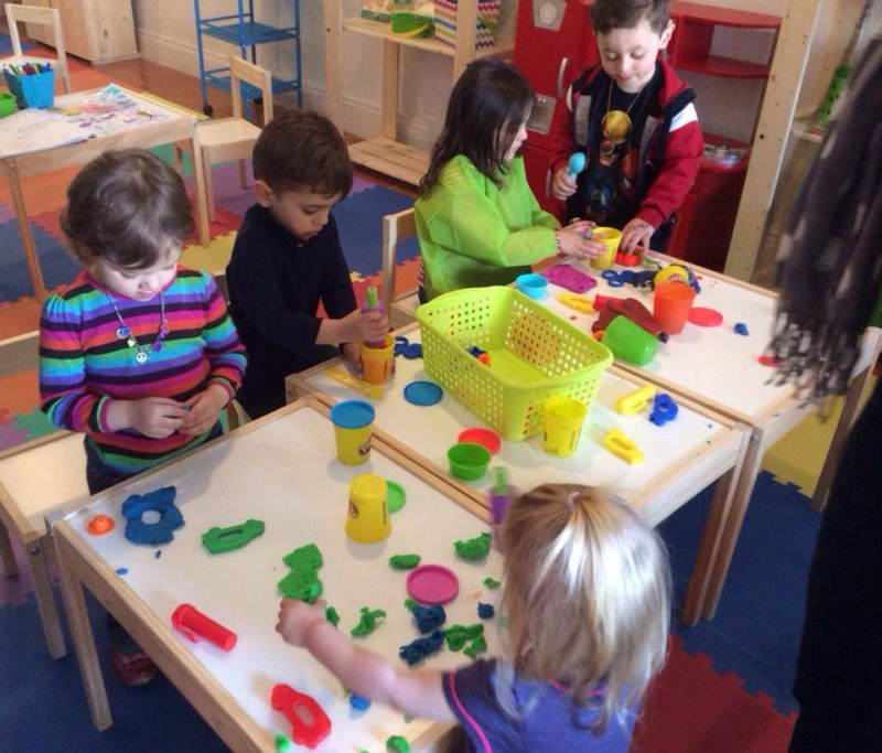 kids playing with play-doh