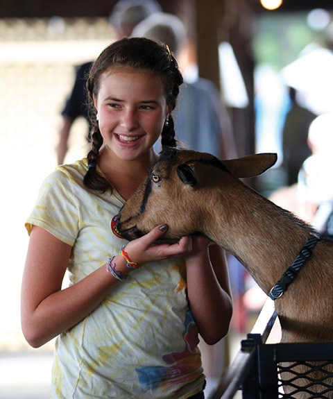 girl and goat at dutchess county fair