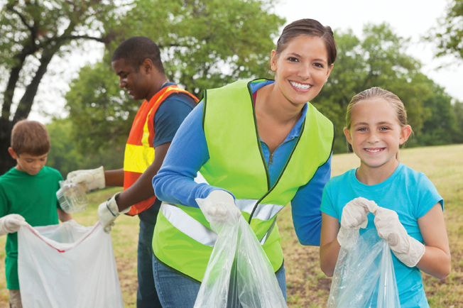 volunteers picking up trash