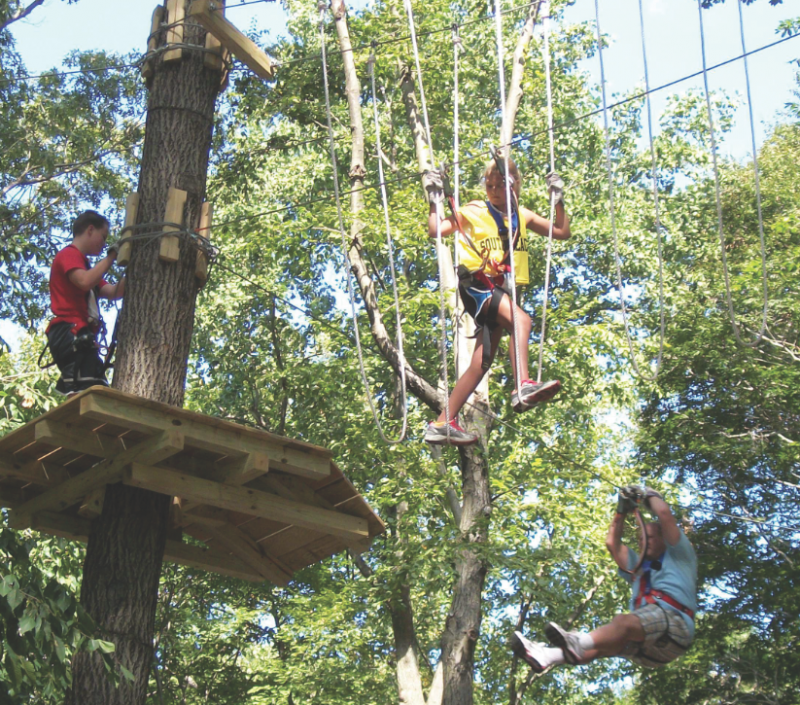 ropes course at adventure park at the discovery museum