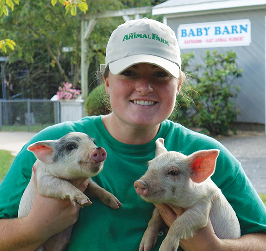 girl holding baby piglets