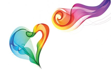 rainbow heart and flourish