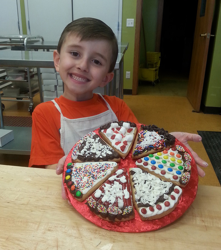 boy with cookie pizza